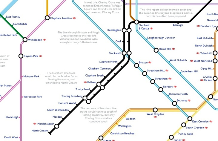 north - A Tube Map That Never Happened, Based On Plans From The 1940s