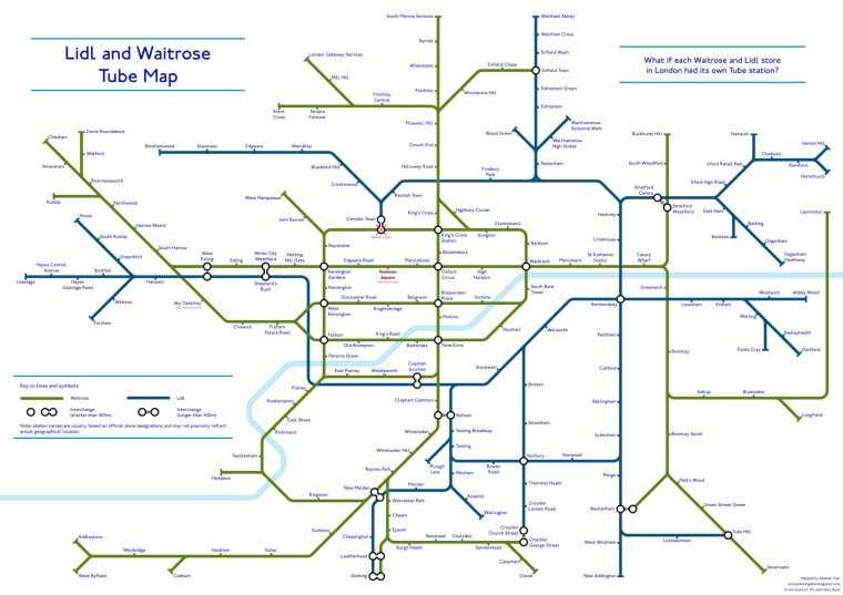 lidl waitrose tube map 1024x724 - A Tube Map Of Every Waitrose And Lidl In London