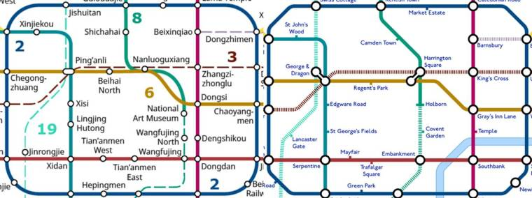 beijing tube2 1024x383 - An alternative TfL Tube map: Designer creates 'grid-like' London Underground plan using Beijing Subway as guide