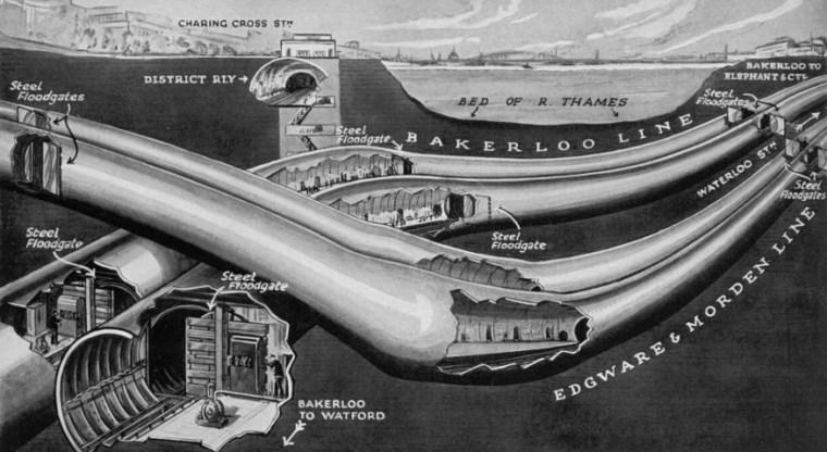 floodgate beneath thames - More Amazing Cutaways Of London Underground Stations