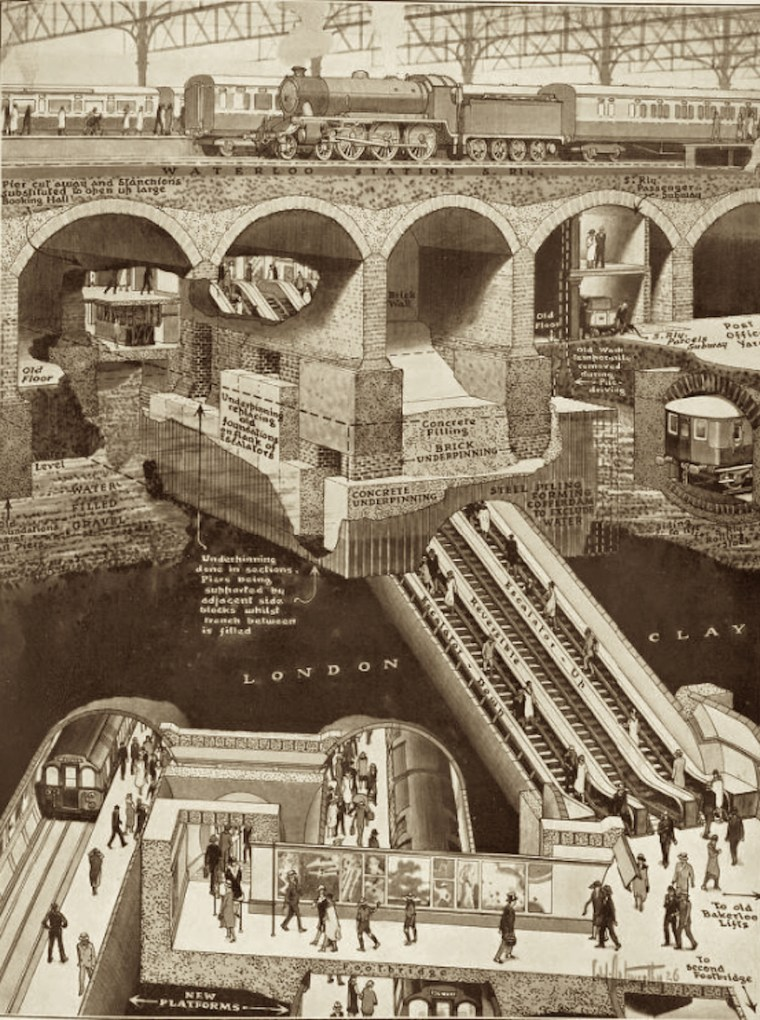 waterloo cutaway 763x1024 - More Amazing Cutaways Of London Underground Stations