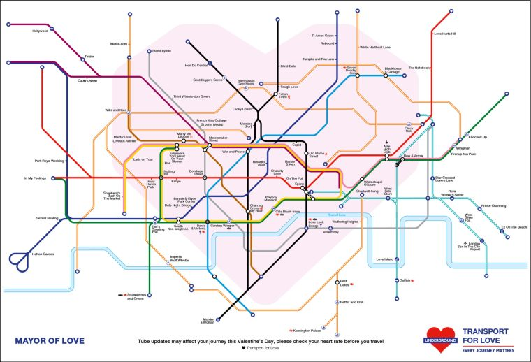 valentines tube map big 1024x698 - This Valentine's Themed Tube Map Is Enough To Break A Pun Artist's Heart