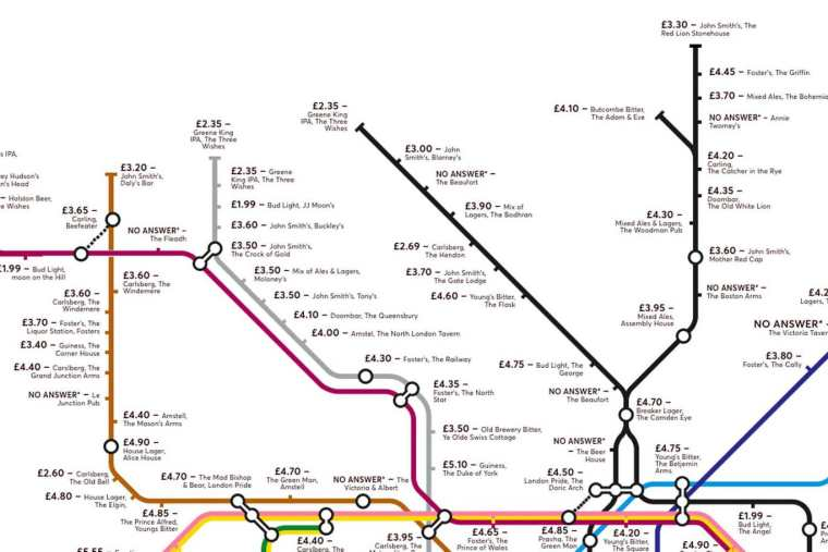 pubmap2 1024x683 - Redesigned Tube map shows cheapest pints of beer close to London stations