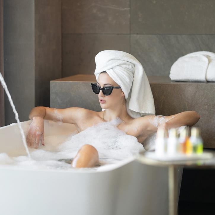 Girl enjoying the spa in Beverly Hills