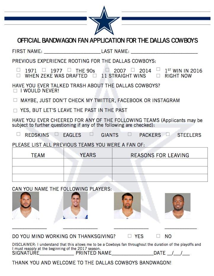 Les Cowboys sortent un formulaire pour les Bandwagoners