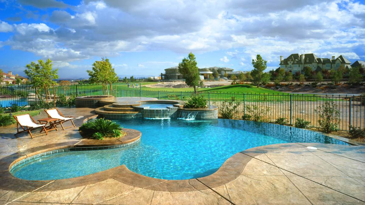 Custom Spillover Raised Spa Swimming Pool Design - Clarity Pool Service of Las Vegas, Nevada