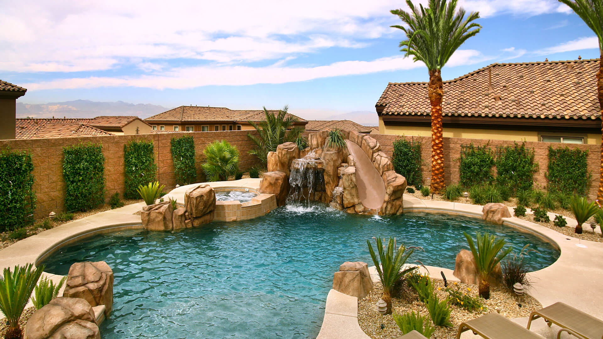Custom Rockscape Swimming Pool Design - Clarity Pool Service of Las Vegas, Nevada