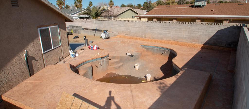 Custom swimming pool construction project from Clarity Pool Service in Las Vegas, Nevada