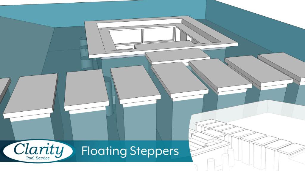 Floating Steppers Swimming Pool Feature by Clarity Pool Service