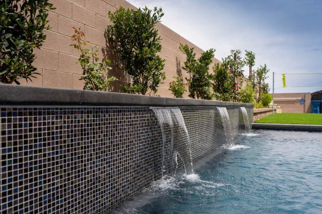 Retaining Water Wall Design by Clarity Pool Service of Las Vegas, Nevada