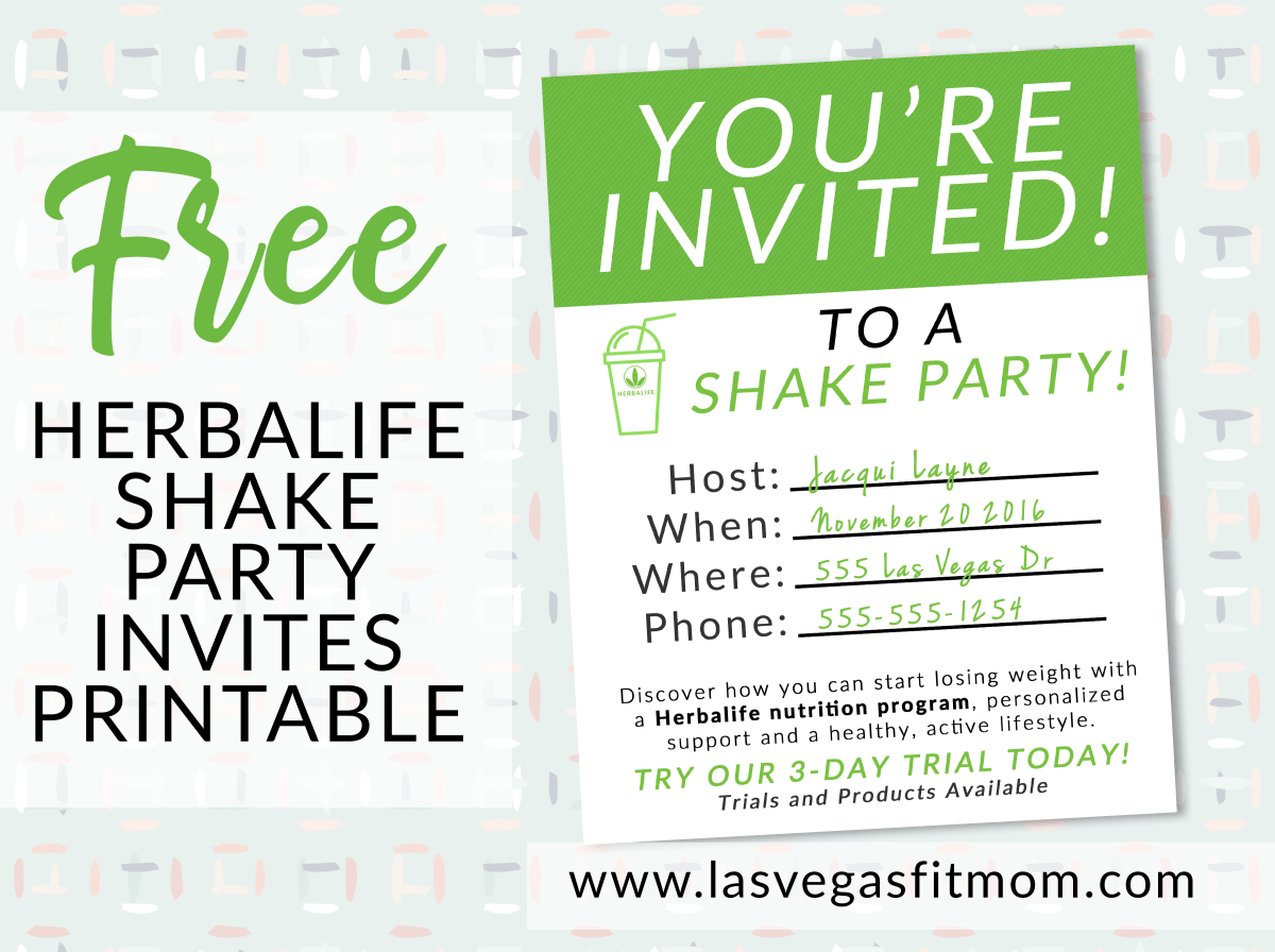 Herbalife Shake Party Invites – Free Printable