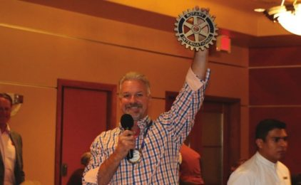 Kirk Alexander displayed the Rotary Plaque that will be attached to the homes built by Rotarians in the next build in Mexico.