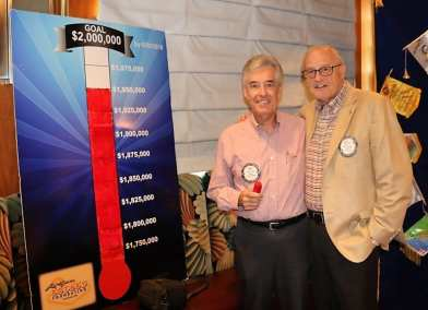 Foundation Trustees Paul Kruger and Bob Fisher update the Foundation total to 1950000