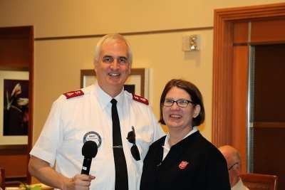 Major Randy Kinnamon of the Salvation Army introduced his wife Cheryl