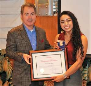Our speaker Len Jessup presented Michelle Quizon with our Centennial Medallion for her amazing achievements as a UNLV graduate.