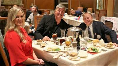 At president Jim's head table were August Spicer, Coach Bill Laimbeer and PP Jim Hunt.