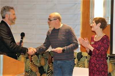 President Jim presented a check for $4,500 to Jim Mason and Cecilia Wheeler of Juvenile Diabetes.