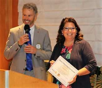"""President Jim Awarded our speaker with our """"Share What You Can"""" certificate."""