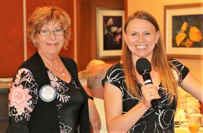Sergeant At Arms Judith Pinkerton and Melanie Muldowney discussed the need for host families for Open World.