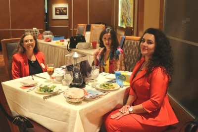 At President Jackie's head table were Karen Whisenhunt and delegates from Ukraine Olena Balybina and Liudmyla Ivashchenko.