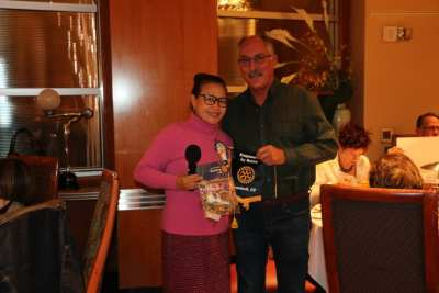 Sergeant at Arms Jimmelle Trijo exchanged banners with 3 visiting Rotarians.