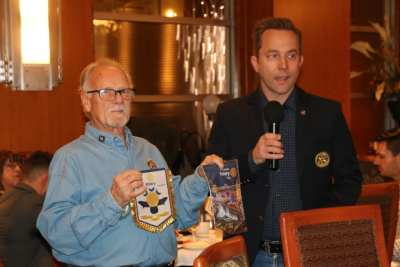 Bob Werner exchanged banners with our visiting international rotarian.