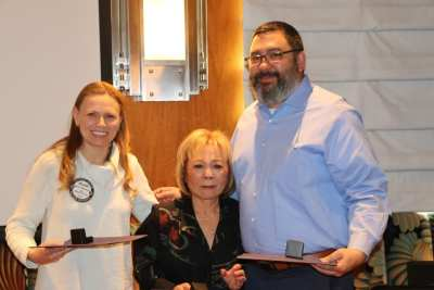 Melanie Muldowney our Rotary Foundation Director presented Paul Harris Fellowships to our past member Bob Barnard's wife Yoko and son Larry.