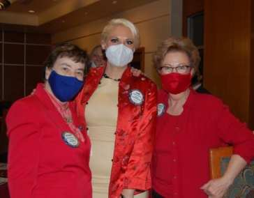 Dr. Kathy Mahon, Jamie Goldsmith, and Carolyn Sparks sporting their valentine's red.