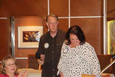 SAA Russ Swain helps Sarah Thornton introduce her guest
