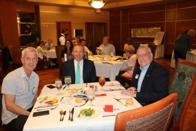 Head table Tom Thomas, guest speaker Terry Shirey, and Ted McAdam