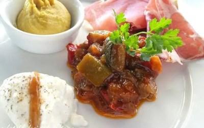 CREME DE POIS CHICHES RATATOUILLE FROIDE ET CHARCUTERIE ITALIENNE sans gluten, faible ou sans lactose, sans sucre