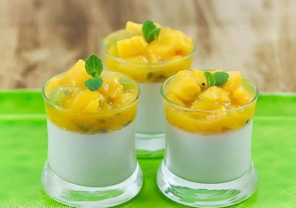 PANNA COTTA NOIX DE COCO ET FRUITS EXOTIQUES sans gluten, sans lait, avec ou sans sucre, sans œuf