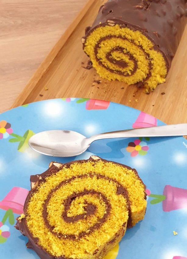 Gâteau roulé et son glaçage chocolat façon Cyril Lignac