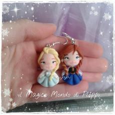Il Magico mondo di Ploppi - Orecchini in Fimo Elsa e Anna Film Disney Frozen
