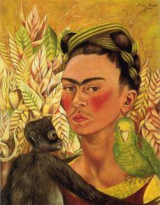 Autoritratto con scimmia e pappagallo - Opera di Frida Kahlo del 1942