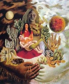 L'amoroso abbraccio dell'universo, la terra (Messico), io, Diego e il signor Xólot. Opera di Frida Kahlo del 1949