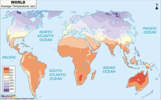 temperature medie gennaio mondo