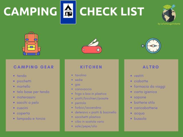 campeggio check list