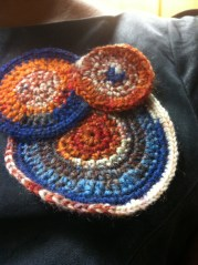 layered crochet brooch