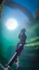 Ascending freediving Frio River Texas