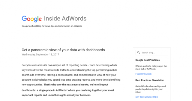Le blog Inside Adwords