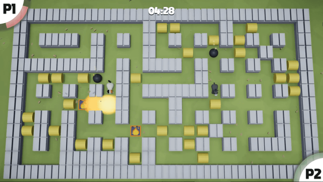 Bomber Barn Alpha Build Gameplay Screenshot - Cat vs Donkey on Elbows Map
