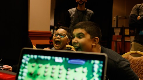 Photo of two children playing Bomber Barn at Gameacon NYC 2018