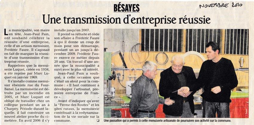 Fred Faure, Article du Dauphiné Libéré sur le rachat menuiserie