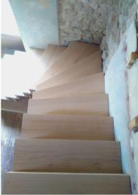 escalier bois multi essences vue haut