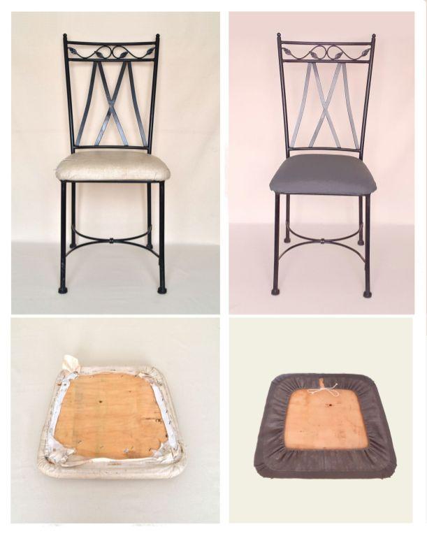 Vues avant après chaises et galettes: Chaises en fer forgé assises blanches refaite en tissu coton et lin gris