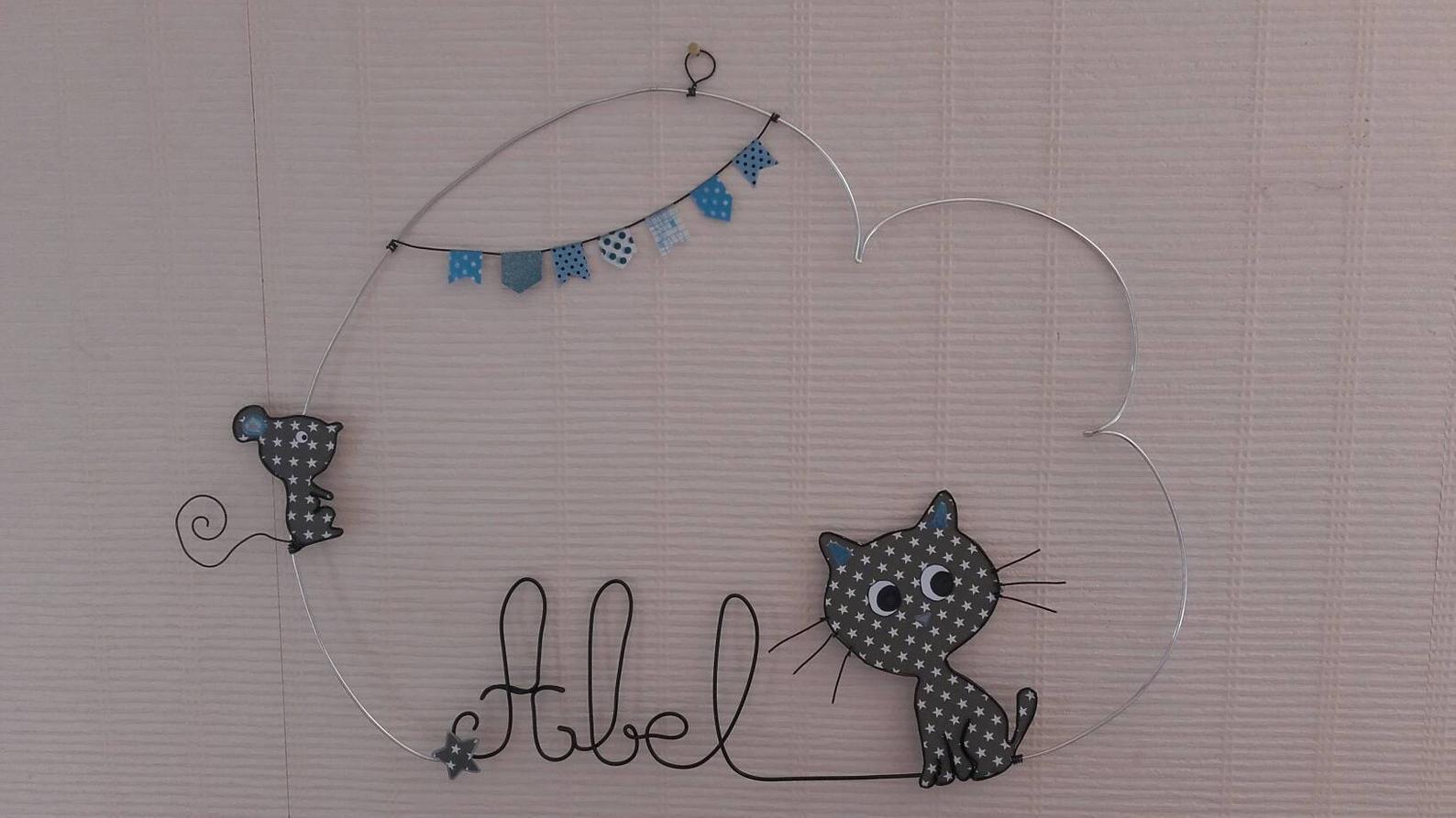 decoration prenom fil d aluminium chat et souris