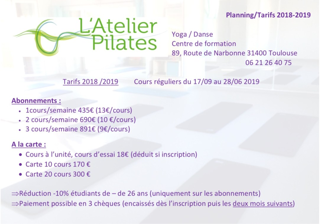 Tarifs 2018-2019