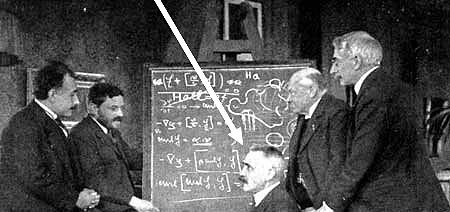 Einstein and friends at blackboard