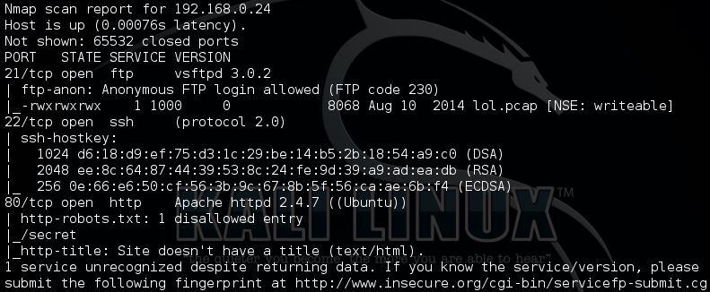 Nmap full TCP scan